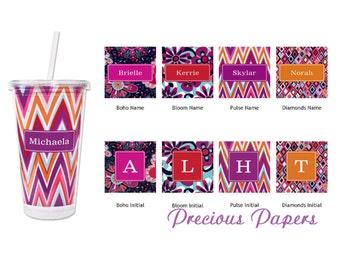 Personalized Plastic Tumblers - chevron tumblers, personalized chevron cups, diamond tumblers, floral tumblers teacher gifts