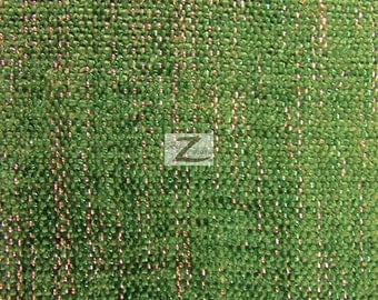 "Sparkle Chenille Upholstery Fabric - GREEN - 57"" Width Sold By The Yard"