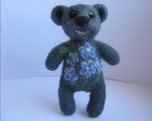 Needle felted fridge magnet or brooch, bear, gray, forget-me-not