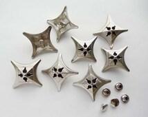 10 Sets Silver Cross Rivet Studs - 20-R-5