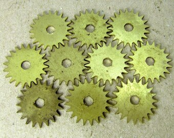 Small Brass Clock Gears - Steampunk Jewelry Findings - set of 10 - G34