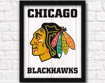 Chicago BLACKHAWKS  rustic handmade sign - Blackhawks fan NHL hockey wall sign Boys room decor Man cave decor - Fathers Day gift for Dad