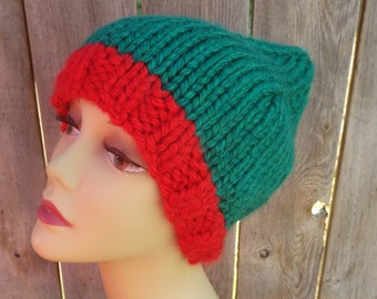 Elf Hat-Hand Knit-Unisex-Red and Green-100% Acrylic