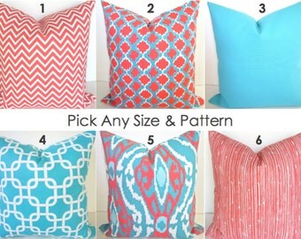 coral pillows coral pillow coral throw pillows aqua blue pillow cover ikat blue turquoise decorative pillow - Coral Decorative Pillows