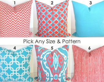 CORAL PILLOWS Coral Pillow Coral Throw Pillows Aqua Blue Pillow Cover Ikat Blue Turquoise Decorative Pillow Covers 18 20x20 All SIZES.