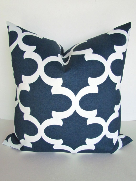 OUTDOOR PILLOWS NAVY Blue Throw Pillow Covers by