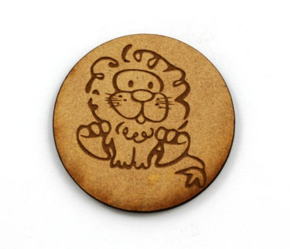 Lasercut Craft Wood Little Lion discs– Set of 2. 60 mm Wide Little Lion discs. Made of Craft Wood Perfect for Embellishing, Wood Crafts