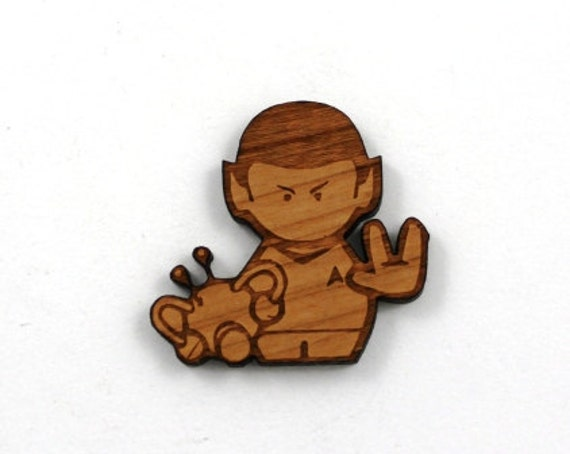 Laser Cut Supplies- 1 Piece.Spock Charms - Cherry Wood Laser Cut Star Trek -Brooch Supplies- Little Laser Lab Sustainable Wood Products