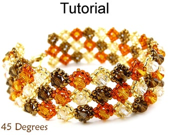 Beading Tutorial Pattern Bracelet - Crystal Right Angle Weave RAW - Simple Bead Patterns - 45 Degrees #6306