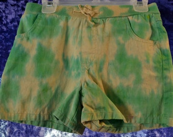 Youth SIZE 10-12 Tie-Dye Shorts Green and Tan Line-Dyed