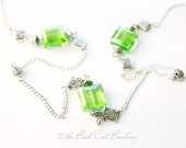 Light Green Glass Iridescent Crystal Bead and Silver Necklace 36 inches