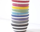 Stripe Greaseproof Cupcake Liners Set of 40 (choose color) Party Baking Cup Wedding, Birthday, Bridal Shower