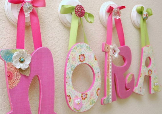 Custom Nursery Letters Baby Name Girl Room Decor By