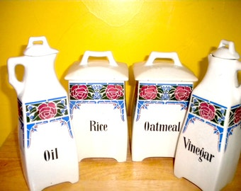 Vintage German Canisters, Vinegar and Oil Set