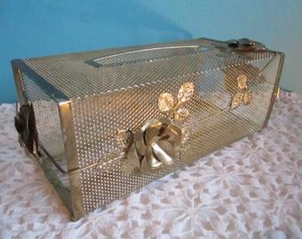 TISSUE Holder GOLD Extravagant  Retro Vintage Filigree Scalloped Brass Vanity Kleenex Mid Century
