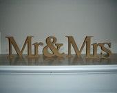 Mr & Mrs Free Standing Unfinished Wood Wedding Decoration Paintable