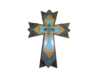 "Finished Cross Layered Wooden Decorative Wall Crosses 15"" Inch Tall #FC15"