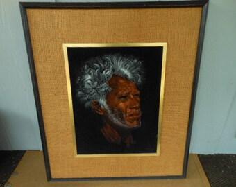 "Velvet Painting Tahitian Chief by Edgar Leeteg Signed Framed Artwork  25"" by 28 1/2""  Barney Davis Edition Midcentury Hawaiian Decor"