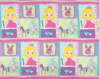 Princess Patch flannel fabric pink purple green castle carriage - YARD