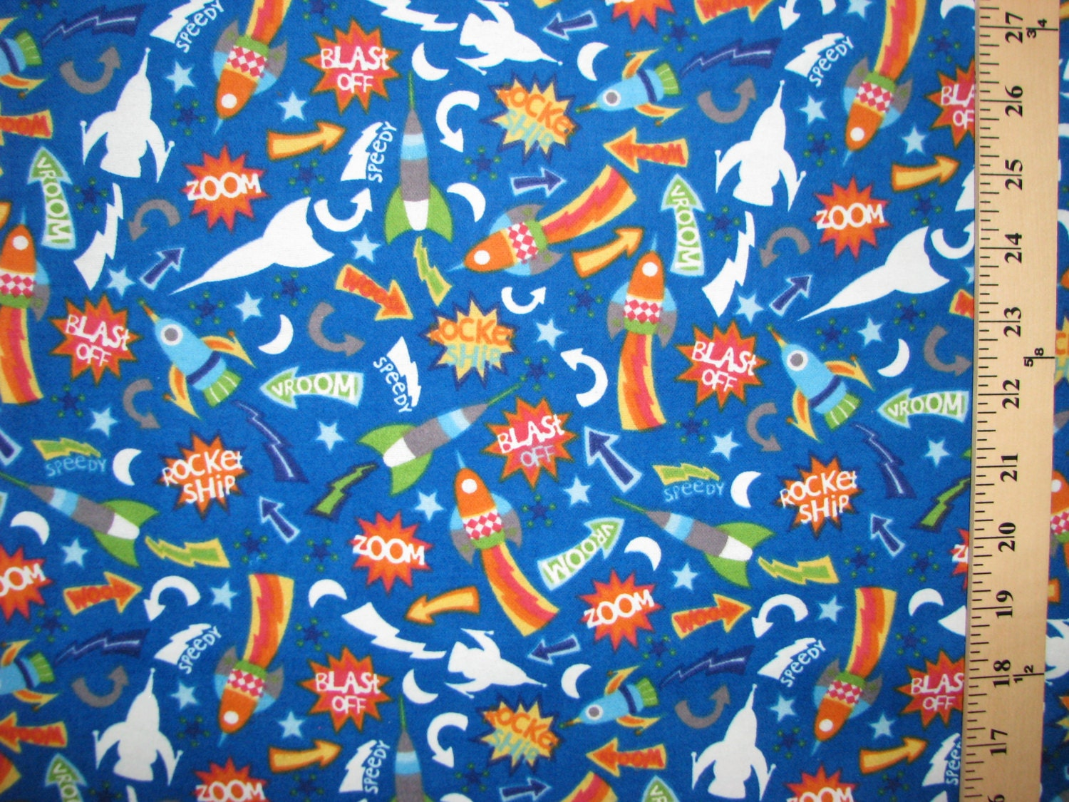 Glow in the dark space flannel fabric rockets by fabricfrantic for Space flannel