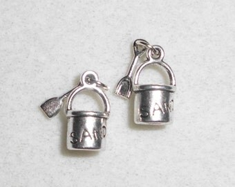 Silver Sand Bucket with Shovel Charms