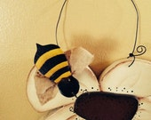 Primitive Handmade Bee Collector on Summer Flower Cupboard Hanger