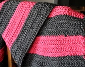 Pink & Grey Striped Crocheted Baby Girl Blanket