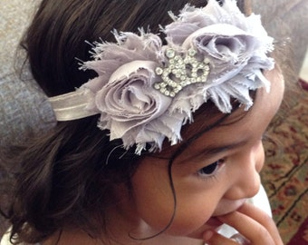 Light Grey Color Shabby Chiffon Flower With A Princess Crown Jewel Headband, Baby Girl Headband, Infant Girl Headband, Newborn Girl Headband
