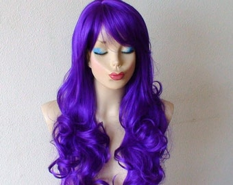 Purple Wig. Long curly dark purple hair with long side bangs wig. Lolita Cosplay Costume wig.