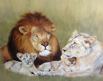 The Quiet Jungle, A Lion Family, 11x14 Giclee Print