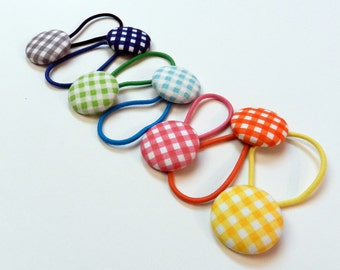 Girls hair bow buttons hair tie CLEARANCE ITEM Button Ponytail hair tie set,Gingham Button Ponytail Holder,Gingham hair tie