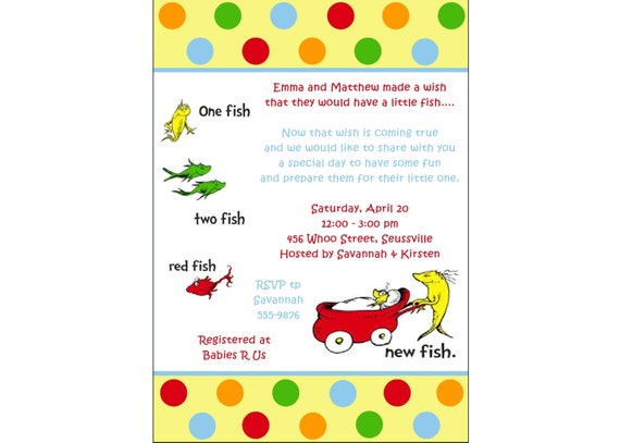 Personalized Dr. Seuss One Fish Two Fish Red Fish NEW FISH Baby Boy ...