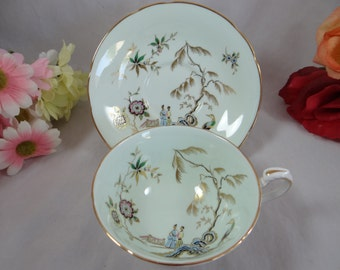 Spectacular Hand Painted Paragon Fine English Bone China Teacup Oriental Mint Green English Teacup and Saucer English Tea cup Blue Teacup