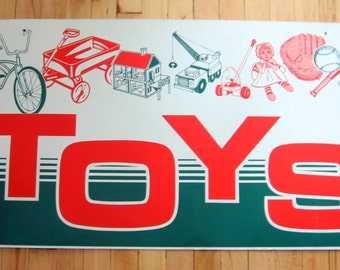 SALE Vintage 1950s-60s Red and Green Double Sided TOYS Sign