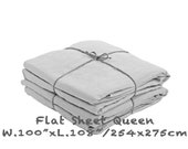 "Flat Sheet Queen Bed French Linen Stonewashed W.100"" x L.108"" Stone Gray"