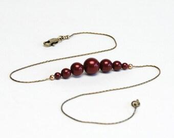 Minimalist Burgundy Pearl Necklace on Slim Chain - 16 - 18 Inch Graduated Swarovski Bordeaux Crystal Pearl Necklace - Marsala Necklace
