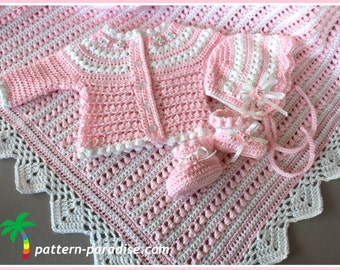 Crochet Pattern Baby Layette 4 Pieces, Blanket Sweater Booties Bonnet, Pearls and Lace SET