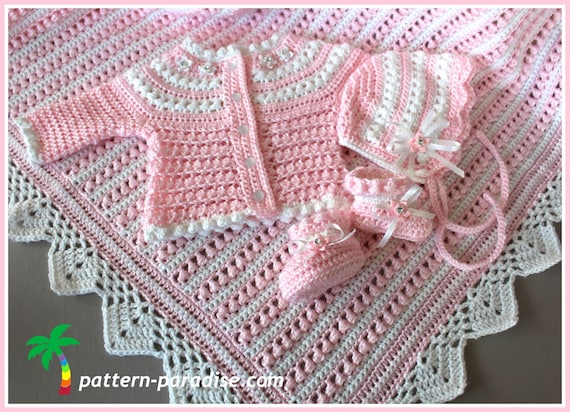 Crochet Pattern Baby Layette 4 Pieces Blanket Sweater Booties