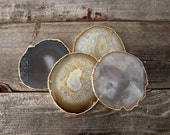 Gold Rimmed Agate Coasters S/4 Electroplated Geodes