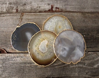 Gold Rimmed Agate Coasters S/4