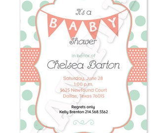 Generic Polka Dot / Flag Printable Baby Shower Invitation