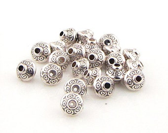 Tibetan silver spacer beads,  1mm hole,antique silver, 25 pieces