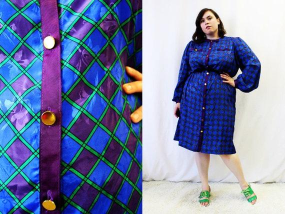 Plus Size Vintage Blue & Purple Plaid Satin Shirt Dress