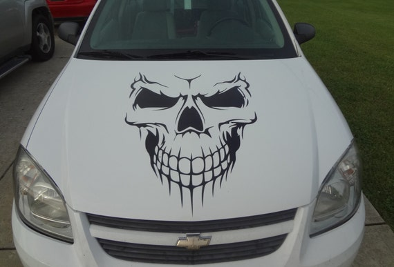 Car Skull Hood Decal Garage Home Decor Wall Hanging Graphic - Skull decals for trucks