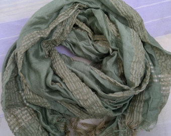 Extra Long Scarf Olive Green Scarf Indian Scarf Fashion Scarf LSF0