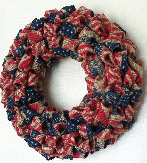 Burlap Fourth Of July Wreath Patriotic Wreath by TheBlissfulLoft