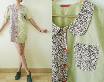 Cute vtg oversized short sleeve cotton blouse, peter pan collar shirt,  green top with pink leopard printed,two tone,button up, grunge,S-M-L