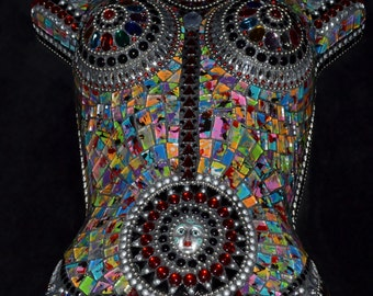 Cosmic Goddess mosaicked female mannequin torso