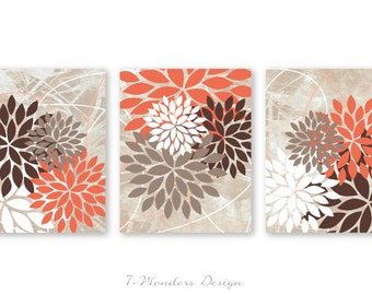 Floral Bursts Botanicals Wall Art Print Set of (3) 5 x 7, 8 x 10 or 11 x 14 // Coral, Brown, Dust, White // Modern Home Decor