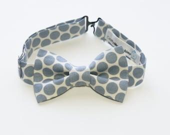 Bow Tie - White and Grey Polka Dot Bowtie